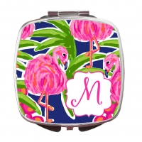 Fancy Flamingos Print Custom Personalized Monogrammed Compact Mirror