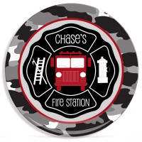 Fire Truck Boys Personalized Microwave Safe Plate