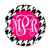 Houndstooth Print Personalized Monogrammed Car Coaster