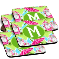 Margarita Print Custom Monogrammed Coaster Set