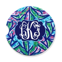 Navy Coral Personalized Monogrammed Car Coaster
