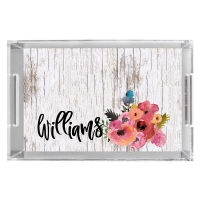 Old Wood & Watercolor Flowers Print Personalized Serving Tray Tray