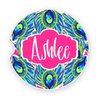 Peacock Feathers Print Personalized Monogrammed Car Coaster, Custom Car Coasters