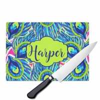 Peacock Feathers Personalized Cutting Board