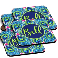 Peacock Feathers Print Custom Monogrammed Coaster Set