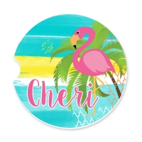 Pink Flamingo Personalized Monogrammed Car Coaster, Custom Car Coasters