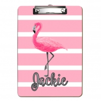 Pink Flamingo Stripes Personalized Clipboard