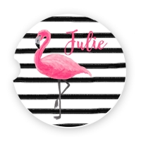 Pink Flamingo Stripes Personalized Monogrammed Car Coaster, Custom Car Coasters