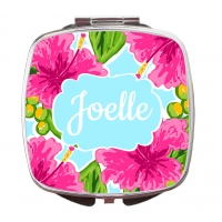 Pink Hibiscus Custom Personalized Monogrammed Compact Mirror