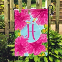 Pink Hibiscus Personalized Garden Flag