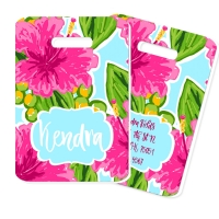 Pink Hibiscus Print Personalized Luggage Tag