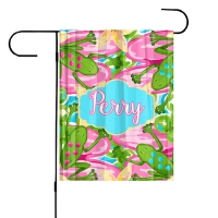 Preppy Frogs Personalized Garden Flag