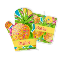 Preppy Pineapple Print Personalized Oven Mitt & Pot Holder Set