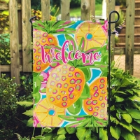 Preppy Pineapple Personalized Garden Flag