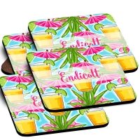 Umbrella Drinks Custom Monogrammed Coaster Set
