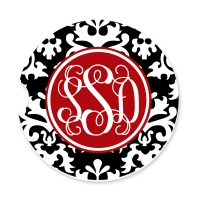 Vintage Damask Personalized Monogrammed Car Coaster, Custom Car Coaster