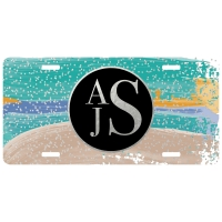 Watercolor Stripes Silver Personalized Car Tag - Decorative License Plate, Monogrammed License Plate