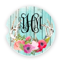 Turquoise Wash Wood Antlers Personalized Monogrammed Car Coaster, Custom Car Coasters