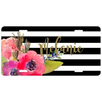 Watercolor Flower Stripes Personalized Car Tag - Decorative License Plate, Monogrammed License Plate