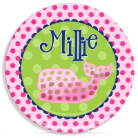 Polka Dot Whale Girls Personalized Microwave Safe Plate, Kids Personalized Plates