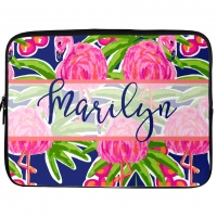Fancy Flamingos Monogrammed Laptop, iPad Kindle Sleeve