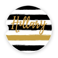 Black & Gold Stripe Personalized Car Coaster