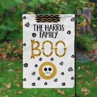 Halloween Boo Skull & Ghost Personalized Garden Flag, Custom Halloween Flag