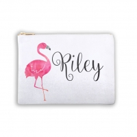 Pink Flamingo Personalized Makeup Bag