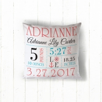 Nautical Baby Girl Announcement Personalized Throw Pillow, Custom Throw Pillow