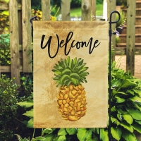 Pineapple Tropical Personalized Garden Flag, Custom Beach Garden Flag, Monogrammed Beach Flag
