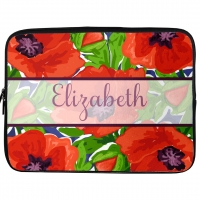 Red Poppies Monogrammed Laptop, iPad Kindle Sleeve