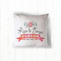 Rose Wedding Personalized Throw Pillow, Custom Throw Pillow