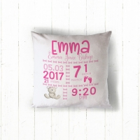 Teddy Bear Baby Girl Announcement Personalized Throw Pillow, Custom Throw Pillow
