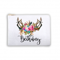 Watercolor Flowers Antlers Personalized Makeup Bag
