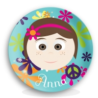 Personalized Girls Melamine Plate - Cute Bob Hippie Chick