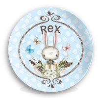 Personalized Kids Plate - Bunny, Boys Easter Plate