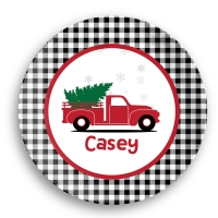 Christmas Truck Personalized Kids Microwave Safe Plate