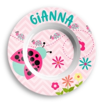 Personalized Girls Bowl - Cute Ladybug