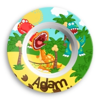 Personalized Boys Bowl - Roaring Dinosaur