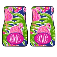 Fancy Flamingos Personalized Front Car Mats