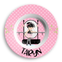 Personalized Girls Dinner Plate - Little Ballerina
