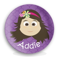 Personalized Girls Melamine Face Plate - Addie