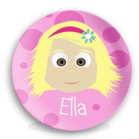 Personalized Girls Melamine Face Plate - Ella