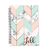 Personalized Notebook - Chevron Marble Mint Coral
