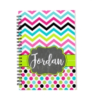 Personalized Notebook - Chevron Polka Dots