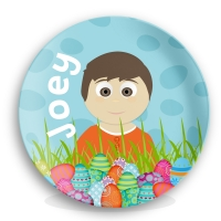 Personalized Boys Melamine Easter Plate - Easter Eggs