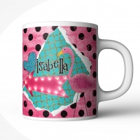 Polka Dot Flamingo Personalized Kids Mug