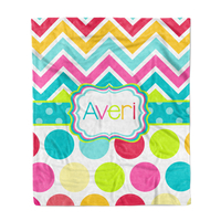 Rainbow  Chevron Polks Dots Minky Blanket
