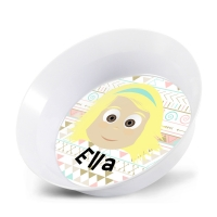 Personalized Girls Melamine Faces Bowl- Tribal Background