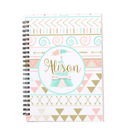 Personalized Notebook - Pastel Tribal Pattern